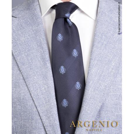 Stemmi azzurri del Regno Due Sicilie in seta blu, Cravatta