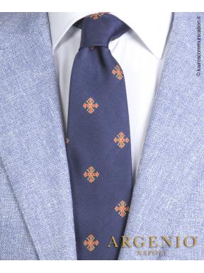 Stemmi Sacro Ordine Costantiniano in seta blu, Cravatta