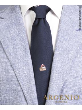 Vascello Vesuvio in seta blu, Cravatta