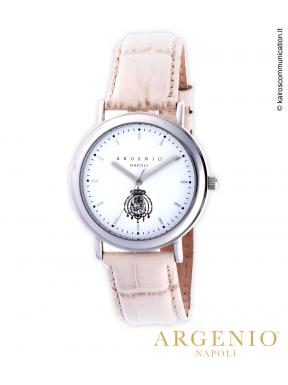 ClassicSlim – Cinturino in pelle beige e Quadrante bianco