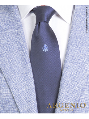 Stemma azzurro Regno Due Sicilie in seta blu, Cravatta