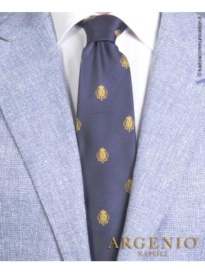 Stemmi oro Regno Due Sicilie in seta blu, Cravatta