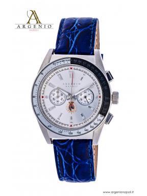 Orologio CronoSport – Quadrante nero/bianco e cinturino in pelle blu