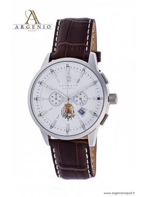 Orologio CronoClassic – Quadrante bianco e Cinturino in pelle marrone