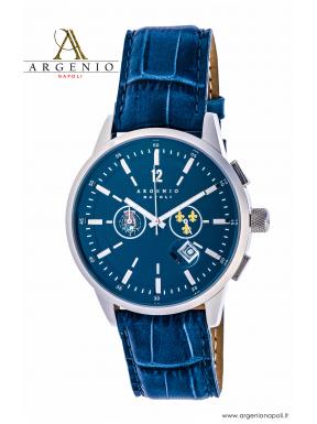 Orologio Crono 2 Stemmi – Quadrante blu e Cinturino in pelle blu