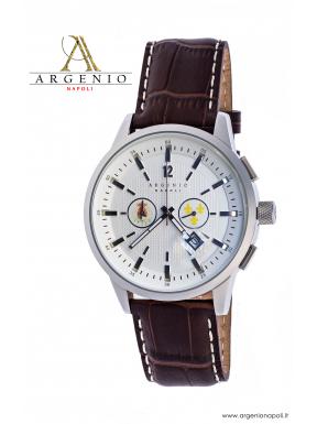 Orologio Crono 2 Stemmi – Quadrante bianco e Cinturino in cuoio